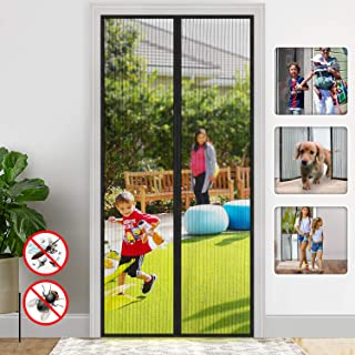 Magnetic Screen Door/Full Frame Seal Heavy Duty Mesh Curtain Screen Doors with Magnets/up to 38 x 82-Inch,Black