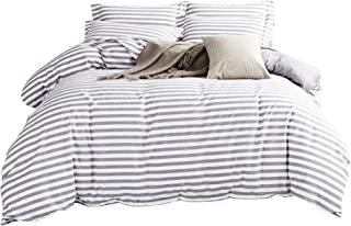DelbouTree Duvet Cover Set,Striped Duvet Cover,Contrast 2 Tone Reversible Comforter Cover,Zipper Closure,Bed Linen Quilt Cover Sets,White Duvet Cover with Grey Stripes,Queen