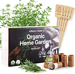 USDA Certified Organic Culinary Herb Seeds Collection - 5 Variety - Non GMO Basil, Cilantro, Parsley, Sage, Thyme - Indoor...