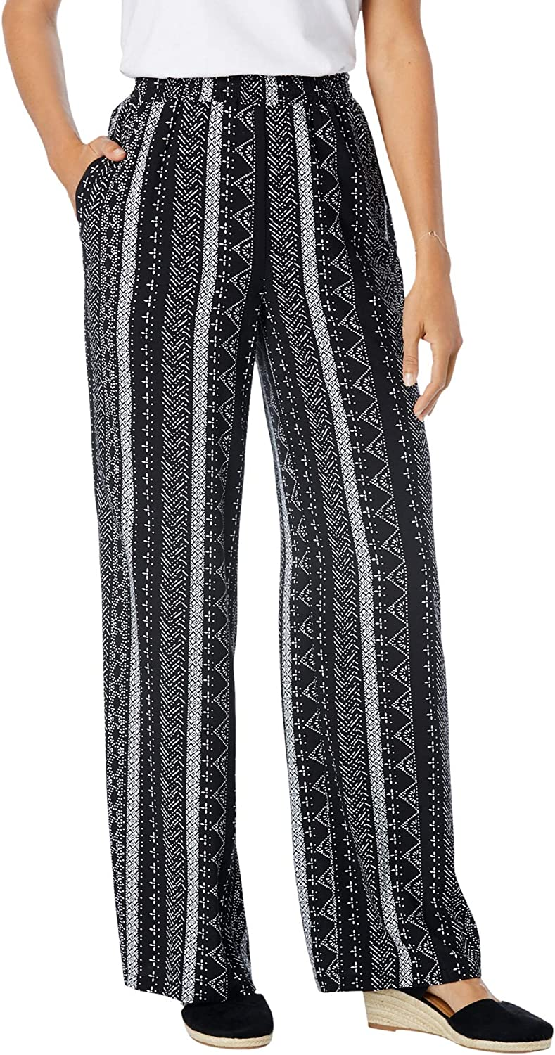 Woman Within Women's Plus Size Pull-On Elastic Waist Soft Pants
