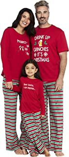 Women's Drink Up Grinches Family Matching Christmas Holiday Pajama Sets PJ