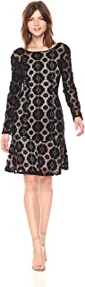 Adrianna Papell Women's Textured Florl Lace Flounce Dress