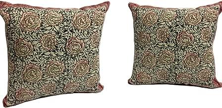 Raghav crafts Lotus Floral Hand Block Print Cushion Cover Indian Sham Dhurrie Sofa Throw Pillow Cover 20