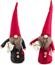 Costyleen Handmade Swedish Tomte Scandinavian Christmas Santa Gnome Plush Home Ornaments Table Decor Festival Decoration Xmas Gifts 2pc - Red Hat Slim Fit 11.8 inches