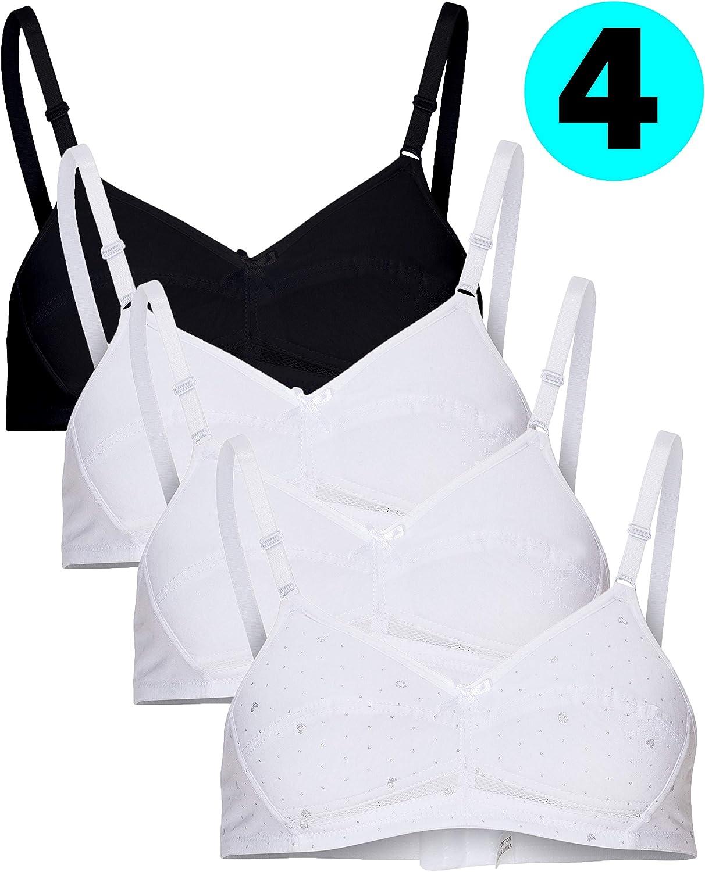 B2BODY Cotton Girls Training Bras – Adjustable Wireless Girls Bras, Multi-Pack