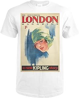London Magazine Vintage Poster (artist: Purvis) UK c. 1927 74179 (Premium White T-Shirt X-Large)