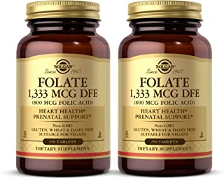 Solgar Folate 1,333 mcg DFE (800 mcg Folic Acid), 100 Tablets - Pack of 2 - Heart Health, Healthy Nervous System, Prenatal...