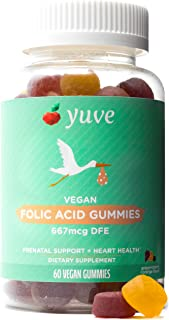 Yuve Vegan Folic Acid Vitamin Gummies 667 mcg DFE - Essential Prenatal Development Support - Maintains Horm...