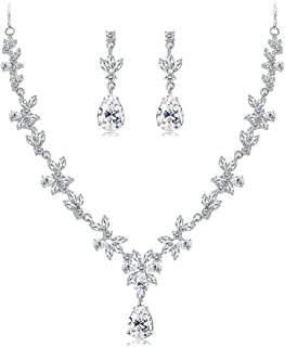 Udalyn Crystal Bridal Jewelry Sets for Women Necklace Earrings Set for Wedding Rhinestone Bridesmaid Gifts fit with Weddin...
