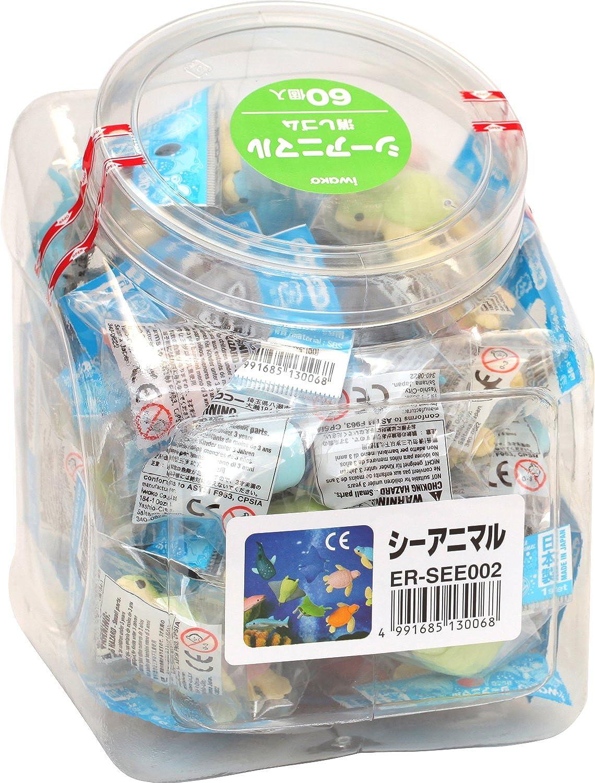 SCERSEE002 60 pcs Iwako Sea Animal Eraser (japan import)