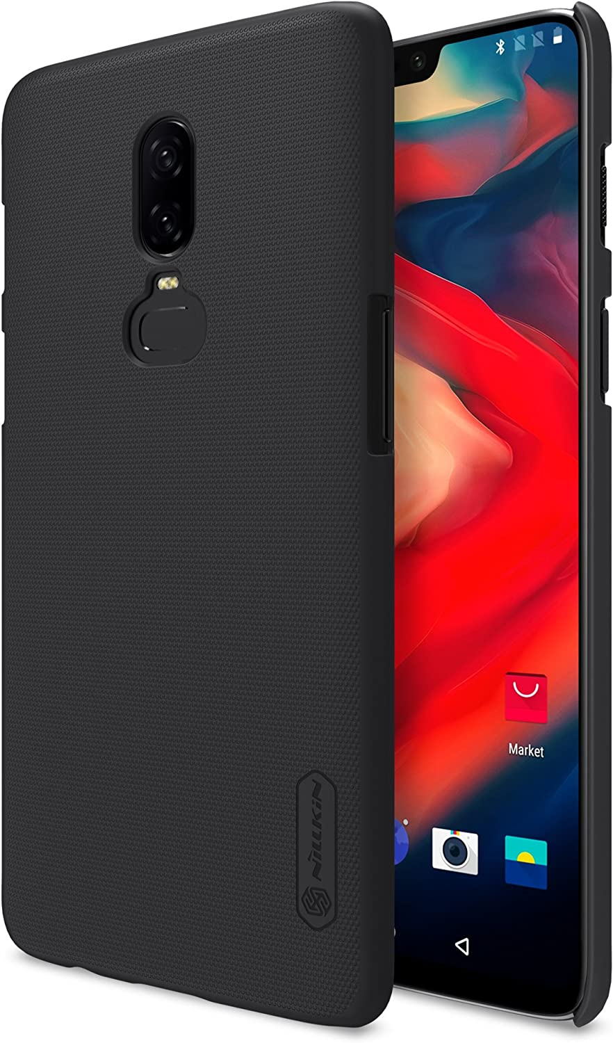 Oneplus 6 Case,Nillkkin [with Kickstand] Frosted Shield Anti Fingerprints Hard PC Case Back Cover for Oneplus 6-Retail Package (Black)
