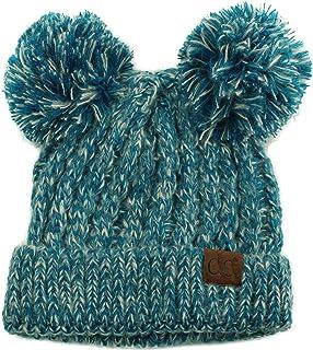 CC Winter Cute 2Pom Pom Ears 2tone Soft Warm Thick Chunky Knit Beanie Hat Black