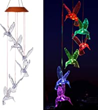 xxschy LED Solar Hummingbird Wind Chimes Outdoor - Waterproof Solar Powered LED Changing Light Color 6 Hummingbirds Mobile Romantic Wind-Bell for Home, Party, Festival Decor, Night Garden Decoration