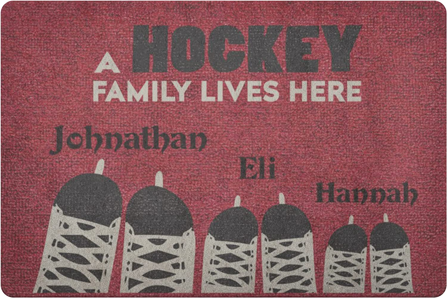 Personalized A Hockey Max 54% OFF Family Max 76% OFF Lives Here Rug Housewarming Doormat