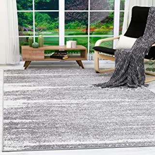 Antep Rugs Siesta Collection Modern Contemporary Polypropylene Indoor Area Rug (Grey/Cream, 5' X 7')