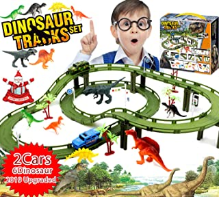 SUFEINI Dinosaur Toys for 3 4 5 6 7 8 Year Old Boy Girl- Kids Toys Birthday, Race Track, Create a Dinosaur World - 6 Dinosaurs, Police Car & Military Car, Box-2019 Toys of The Year