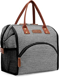 LOKASS Lunch Bag Insulated Lunch Box Wide-Open Lunch Tote Bag Large Drinks Holder Durable Canvas Thermal Snack Organizer for Women Men Adults College Work Picnic Hiking Beach Fishing,Stripes