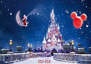 7x5ft Christmas Backdrops for Photography Santa Claus & Christmas Balloon & Fantasy Castle Pictorial Cloth Christmas Photography Background Christmas Photo Backdrop for Pictures Studio Prop SDJ-018