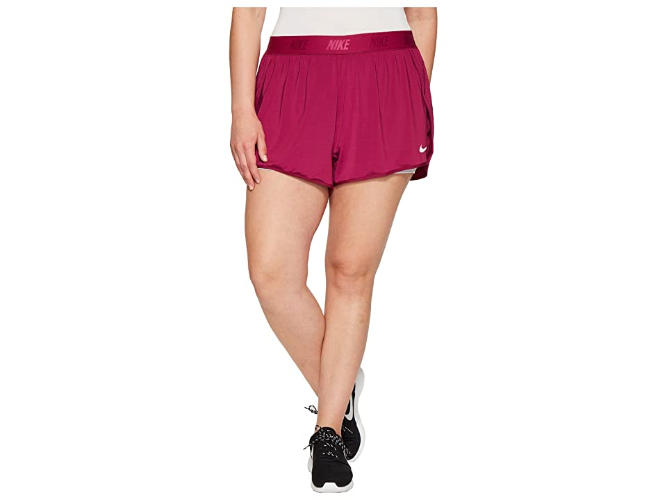Nike Dry Training Short (Size 1X-3X) (True Berry/Pure Platinum/Pure Platinum) Women