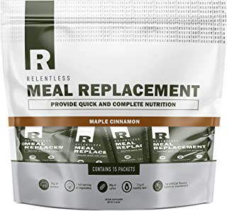 Individual Meal Replacement Powder Packets by Live Relentless Nutrition - Whole Food Protein Shake Powder Packets (Maple Cinnamon, 15 On-The-Go Packets)