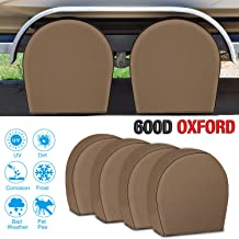 RVMasking Tire Covers for RV Wheel Set of 4 Heavy Duty 600D Oxford Motorhome Wheel Covers, Waterproof PVC Coating Tire Protectors for Trailer Truck Camper Auto, Fits 32