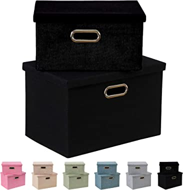 Enzk&Unity Foldable Lidded Storage Bins Cube Linen Fabric Storage Basket with Handle Organizer Box Containers for Shelf Home