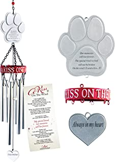 "Pet Memorial Wind Chime. 19-Inch Pet Memorial Gift with Metal Pawprint & Sentimental ""A Kiss on the Wind"" Poem Card to Comfort a Dog or Cat Owner Grieving the Loss of Their Beloved Pet"