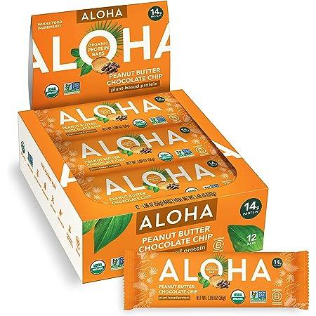ALOHA Organic Plant Based Protein Bars  Peanut Butter Chocolate Chip   12 Count, 1.98oz Bars   Vegan, Low Sugar, Gluten Free, Paleo, Low Carb, Non-GMO, Stevia Free, Soy Free, No Sugar Alcohols