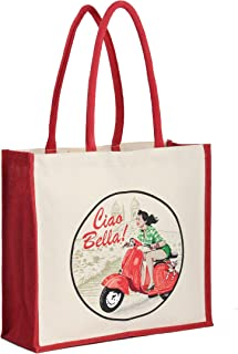 Earthwise Reusable Shopping Bag Grocery Tote Heavy Duty Jute with Ciao Bella Print