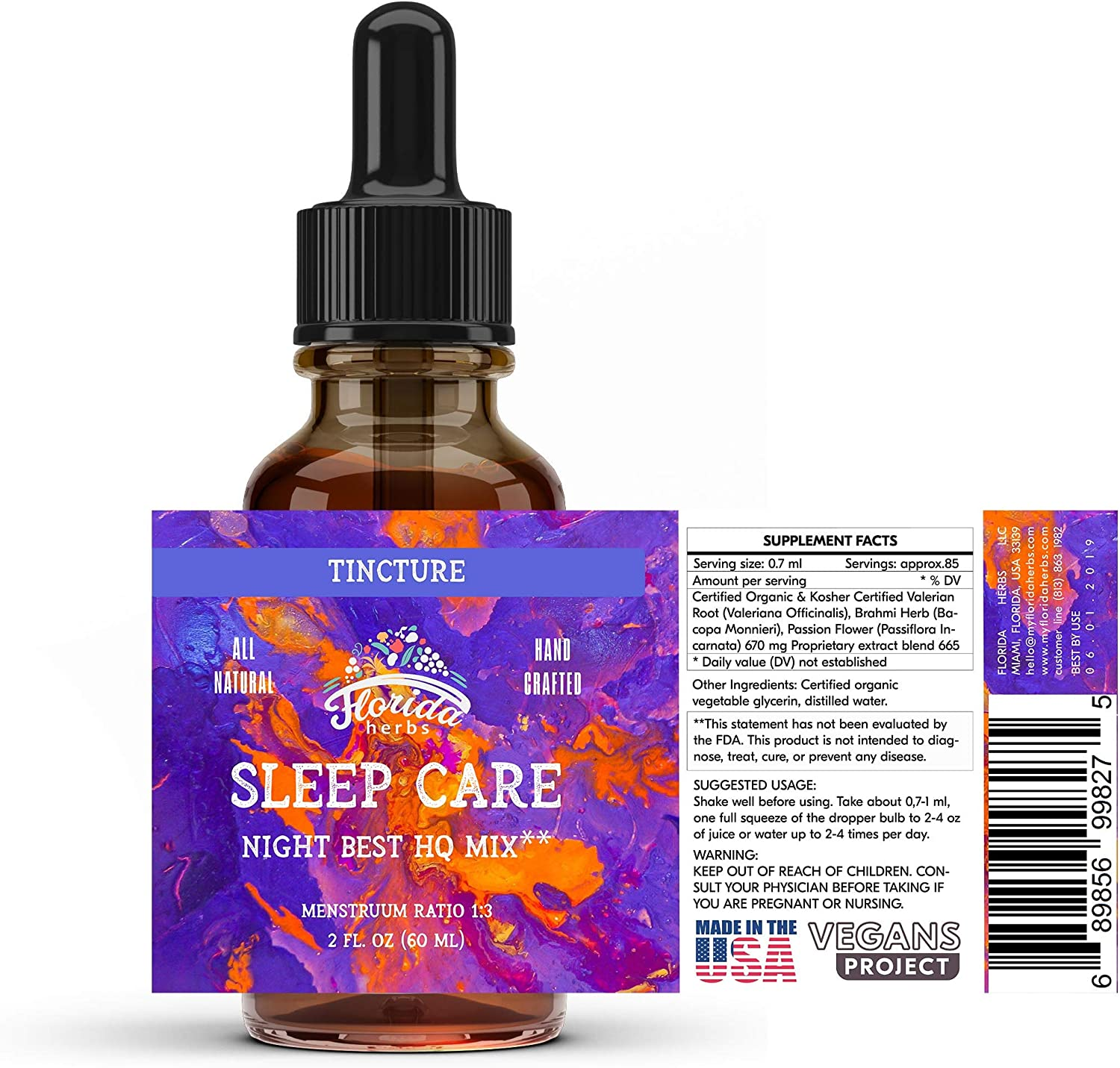 Inventory Genuine Free Shipping cleanup selling sale Sleep Care Tincture Valerian Root Flower Brahmi Passion Herb