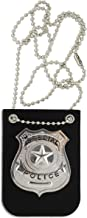 KINREX Police Badge Costume for Kids – Premium Fake Police Badge Holder – Pretend Play Dress Up Accessories – Includes Chain and Black Belt Clip Holder