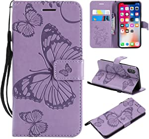 Apple iPhone X iPhone Case THRION Butterfly Leather Flip Wallet Cover with Card Slot Holder and Magnetic Closure for Apple iPhone X iPhone Xs  Purple