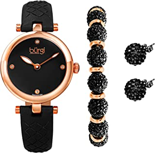 Burgi Ladies Gift Set Stylish Watch with 4 Diamond Markers Leather Strap Glitter Markers, Crystal Beaded Bracelet and Crystal Earrings - BUR245