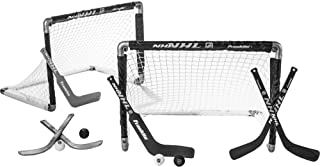 Franklin Sports Mini Hockey Goal Set of 2 – Play Knee-Hockey Anytime, Anywhere – NHL-Approved Indoor Hockey Set – Player and Goalie Sticks Included – Fully Collapsible – Great for Young Players