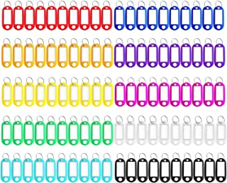 150 Pack Tough Plastic Key Tags Keychain Tags, Key Ring Tags ID Label Tags with Split Ring Label Window,10 Colors