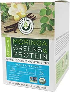 Kuli Kuli Organic Moringa Greens & Proteins Plant-Based Superfood Smoothie Mix, Vanilla, 1 Ounce Packets (12 Count) Vegan and Gluten-Free with 15g of Pea Protein and 2 Cups of Greens Per Serving