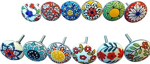 Ajuny 12 Multicolor Vintage Look Bloem Keramische Knoppen Deur Handvat Kabinet Lade Kast Pull