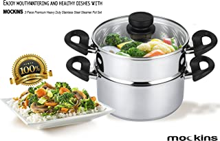 mockins 3 Piece Premium Heavy Duty Stainless Steel Steamer Pot Set Includes 3 Quart Cooking Pot, 2 Quart Steamer Insert and Vented Glass Lid | Stack and Steam Pot Set for All Cooking Surfaces