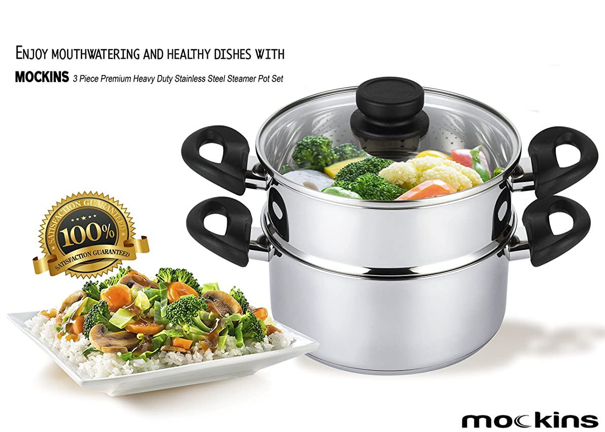 mockins 3 Piece Premium Heavy Duty Stainless Steel Steamer Pot Set Includes a 3 Quart Saucepot With a Vented Glass Lid & a 2 Quart Steamer Insert - Stack & Steam Pot Set … … … … …