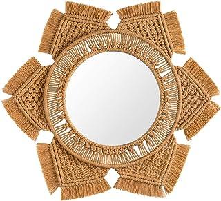 Mkono Hanging Wall Mirror with Macrame Fringe Round Boho Mirror Art Decor for Apartment..