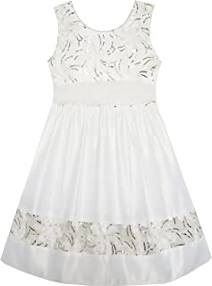 Sunny Fashion Girls Dress Flower Detailing Sequin Lace Party Princess White
