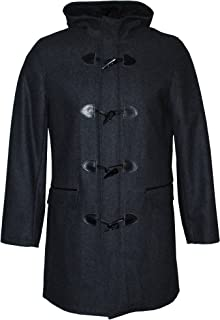 INC Men's Single Breasted Wool Blend Hooded Toggle Coat, Charcoal