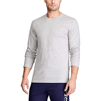 Polo Ralph Lauren Enzyme Washed Long Sleeve Crew (Andover Heather/Cruise Navy Necktape/White Pony Print) Men