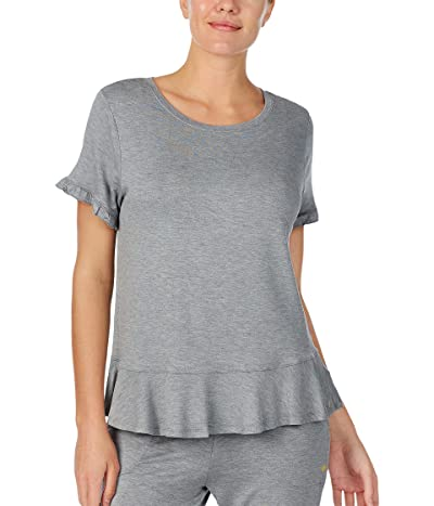 Kate Spade New York French Terry Short Sleeve Peplum Top (Heather Grey) Women