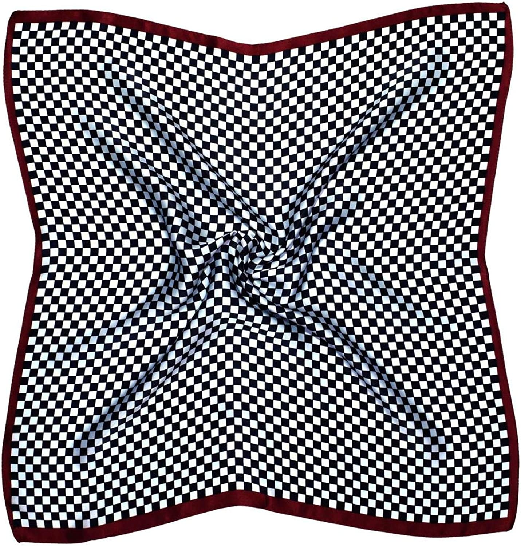 Brown White Check Thick Silk Small Square Scarf