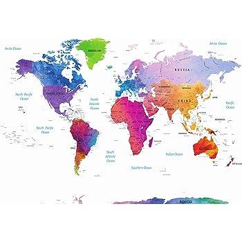 Stylish Living Mapa Mundo Gigante para Pared Mapamundi Mural Moderno Mapa Mundial Original XXL Poster de Colores de Diseñador Planisferio de Decoración de Dormitorio, Salón 140x100 cm: Amazon.es: Hogar