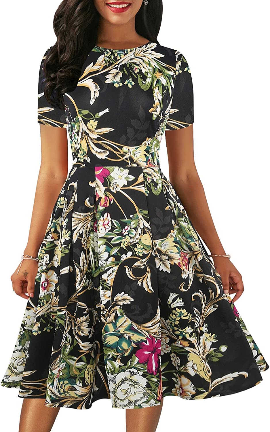 oxiuly Women's Elegant Floral Flare Knee Length Vintage Dress Evening Dinner Party Casual Swing Dresses with Pockets OX336