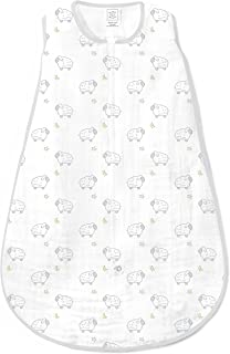SwaddleDesigns Cotton Muslin Sleeping Sack with 2-Way Zipper, Sterling Little Lambs, Small