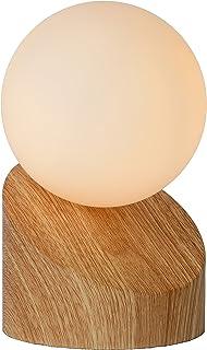 Lucide 45561/01/72 Lampe de Table, Métal/Verre/PVC, 5 W, Bois Clair/Opalin