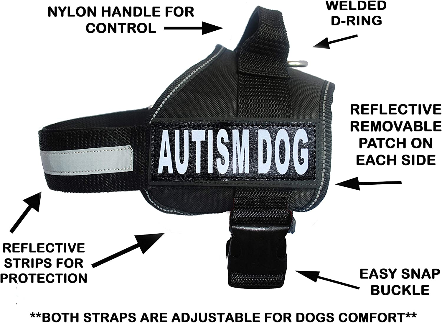 Autism Nylon Service Dog Vest Harness. Purchase Comes with 2 Reflective Autism Dog Removable Patches. Please Measure Your Dog Before Ordering